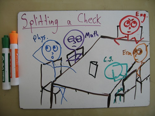 math experts split the check  u2013 math with bad drawings